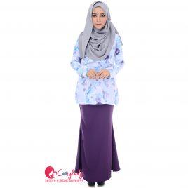 Floral Kurung – Purple (size S & M)