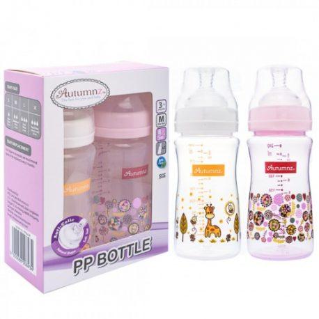 Autumnz 8 oz pp bottle twin giraffe abstract