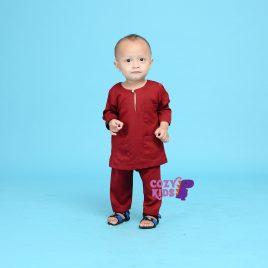 Kids Baju Melayu – Maroon