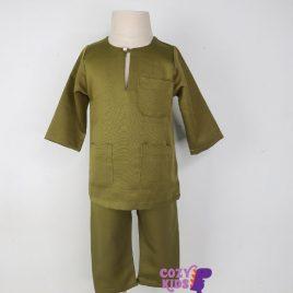 Kids Baju Melayu – Olive