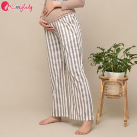 Maternity Pants – Stripe Brown